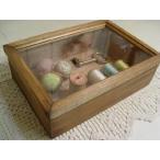 アンティークブラウン 透明ガラスの木製小物入れ ジュエリーケース(中 22×15×7cm) 受注製作