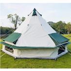 Hewflit ワンポールテント テント 4×4m 6人用 キャンプ 100%コットン グランピング ティピ ゲル 防水 防虫 アウトドア