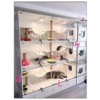 丸太猫ケージペットケージ猫ハウス猫別荘木防水猫ケージ透明ペット展示ケース