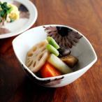 九谷青窯 高原真由美 色絵ガーベラ 紫 四方小鉢/くたにせいよう たかはらまゆみ