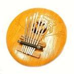 アジアの楽器ココナッツカリンバ木彫りトカゲ模様ナチュラル直径15cmアジアンバリタイ雑貨椰子の実マリンバ民族演奏