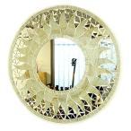 壁掛け 鏡 丸型 モザイクミラー モザイクガラス 鏡 直径40cm オフホワイト ラメ 太陽 アジアン 雑貨 バリ 雑貨 タイ 雑貨 おしゃれな アジアン インテリア