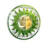 壁掛けバリモザイクミラー鏡SD.30cm丸型グリーン&ゴールド太陽丸い鏡アジアン雑貨バリ雑貨タイおしゃれな鏡アジアンインテリア