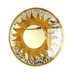 壁掛け バリモザイク ミラー 鏡 S D.30cm 丸型 オレンジ系黄色 金ラメ 太陽 丸い鏡 アジアン雑貨 バリ雑貨 タイ おしゃれな鏡 アジアンインテリア