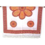 パレオ更紗マルチクロス花柄幾何学模様オレンジアジアンバリタイ雑貨エスニック布水着ソファーカバーラグ