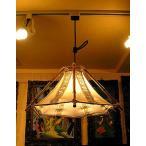 バンブーのペンダントランプ 六角錐とサンダルウッドの枝 [横幅最大約.43cm] アジアン雑貨 アジアンインテリア アジアンランプ 照明 エスニック