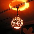 鉄製ペンダントランプ ボール型 レリーフとオレンジ布 [D.23cm] アジアン雑貨 アジアンインテリア アジアンランプ 照明 エスニック
