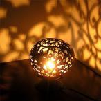 ココナッツのアートランプ 丸型 トッケイ・唐草模様 [直径約15cm] テーブ フロアーライト フットライト おしゃれな きれいな アジアンランプ 照明 エスニック