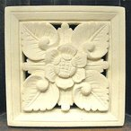 アジアン雑貨 バリ雑貨 砂岩のレリーフ お花 20x20x3.5cm