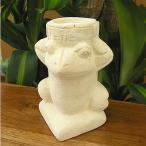 アジアン雑貨 バリ雑貨 砂岩の彫像 キャンドルホルダー お皿を持ったカエル君 H.約13cm