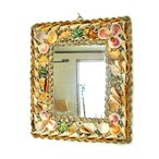 アジアン雑貨 バリ雑貨 壁掛け 海辺の貝殻の壁掛けミラー A [縦34cmx横30cm] 鏡