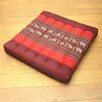 タイの座布団正方形38cm角象さん柄赤x朱枕クッション高反発エスニックおしゃれな座布団クッション枕