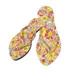 アジアンエスニックローヒールサンダル36/37花柄ピンク系アジアン雑貨タイ雑貨