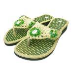 サンダルレディース22.5cm23cm23.5cmエスニックビーズビーチローヒール歩きやすい中敷畳グリーンナチュラルアジアンバリタイ雑貨ファッション