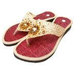 サンダルレディース22.5cm23cm23.5cmエスニックビーズビーチローヒール歩きやすい中敷畳レッドナチュラルアジアンバリタイ雑貨ファッション
