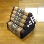 タイの三角枕 3段マット付 象さん刺繍 薄茶xこげ茶 アジアン雑貨 タイ雑貨 バリ雑貨 エスニック おしゃれな三角枕