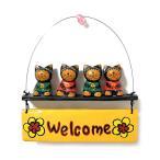 Welcomeプレート ウェルカムバリネコ 4匹セット アジアン雑貨 バリ雑貨