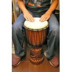 ジャンベ 太鼓 H.60cm 手彫り模様 ブラウン アジアン雑貨 バリ雑貨 アジアの楽器