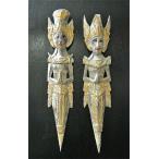 ショッピングアジアン アジアン雑貨 バリ雑貨 木彫りのラーマとシータ2体セット60cmグレー・金冠