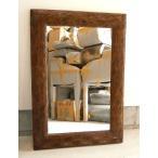 ショッピングアジアン 送料無料 木彫りのミラー姿見 手彫りリーフ模様 100cmx70cm