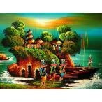 バリアート絵画M横アハマッドの風景画『朝陽のタナロット』[額横約52.5x縦42.5cm]アジアン雑貨 バリ雑貨