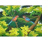 アジアン雑貨 バリ雑貨 バリ絵画 M横 花鳥風月 森の小鳥達 赤×青