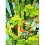 アジアン雑貨 バリ雑貨 バリ絵画 L 縦 森の小鳥達 バンブー