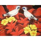 アジアン雑貨 バリ雑貨 バリアート絵画 M 横 森の小鳥達 黄花 赤バナナリーフ