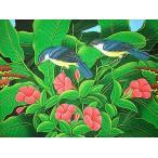 アジアン雑貨 バリ雑貨 バリアート絵画 M 横 森の小鳥達 濃青 赤花