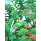 アジアン雑貨 バリ雑貨 バリ絵画 L 縦 森の小鳥達 薄紫尾
