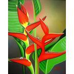アジアン雑貨 バリ雑貨 バリ アート絵画 L 縦 熱帯の花 ストレリチア
