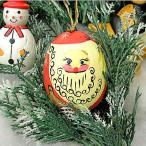アジアン雑貨 バリ雑貨 X'mas特価 タマゴの形の雪ダルマ 赤 木製 吊下げ H.約7.5cm