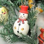 アジアン雑貨 バリ雑貨 X'mas特価 赤いテンガロンの雪ダルマ君 細長 木製 吊下げ H.約10cm
