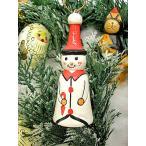 アジアン雑貨 バリ雑貨 X'mas特価 赤い三角帽子の雪ダルマ君 細長 木製 吊下げ H.約10cm