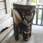 ゾウ置物 リアル 木彫り 花台L アジアン エスニック