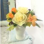 プリザーブドフラワー ギフト クリーム色のバラとオレンジの薔薇 デンファレをプラスしたナチュラルアレンジ