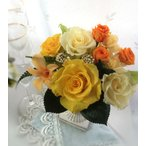 プリザーブドフラワー ギフト 黄色の薔薇と一輪のデンファレ 退職 喜寿 開店 お祝い