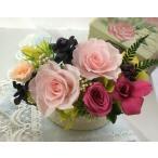 プリザーブドフラワーギフト ピンクのバラとデンファレのかわいいナチュラルアレンジ