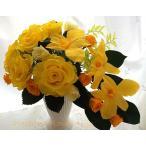 プリザーブドフラワー アレンジ ギフト 豊かな明日に 黄色の薔薇 デンドロビウムの華やかアレンジ