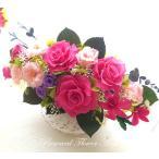 プリザーブドフラワー ギフト アレンジ 貴婦人の薔薇 ピンク 紫 デンファレ