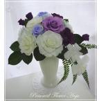 プリザーブドフラワー ギフト アレンジ 紫の薔薇と白い薔薇 デンドロビウム お供えにも ブリザード