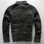 牛革ジャケット 本革ジャンバー レザー刺繍革ジャン ライダースバイク ライディング 大きいサイズ アウター サイクルリング モーターバイク衣装 メンズ