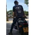 バイクデニムベスト 刺繍ベストレザーライダースジャケット ライダース べすと バイクウェア 走行ファッション メンズ
