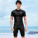 フィットネス スイムウェア 水着上下セット 半袖+トレンカセット ラッシュガード メンズ 水陸両用 UVカット Tシャツ レギンス ロングスリーブ