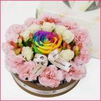 レインボー バラ  フラワーケーキ ホワイトデー フラワーアレンジメント 誕生日ケーキ キャンドルセット 翌日配達 ギフト プレゼント 贈り物