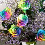 花束 バラ ギフト レインボー バラ 5本から 誕生日の花 薔薇 ギフト プレゼント 贈り物