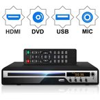 DVDプレーヤー Mic対応 1080Pサポート DVD/CD再生専用モデル HDMI端子搭載 CPRM対応、USB、AV / HDMIケーブルが付属し、テレビに接続できます、MIC-DP8033