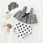 子供 水着 送料無料 キッズ 韓国子供服 ベビー スイムウエア 海水浴 プール スイムキャップ ビキニ  セット ドット 女の子