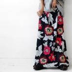 スカート ロングスカート マキシ丈 レディース レトロ花柄ロングスカート・再再販。80ptメール便可