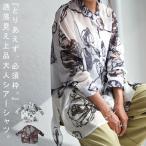 シアーシャツ シャツ レディース トップス 長袖 柄 花柄・80ptメール便可